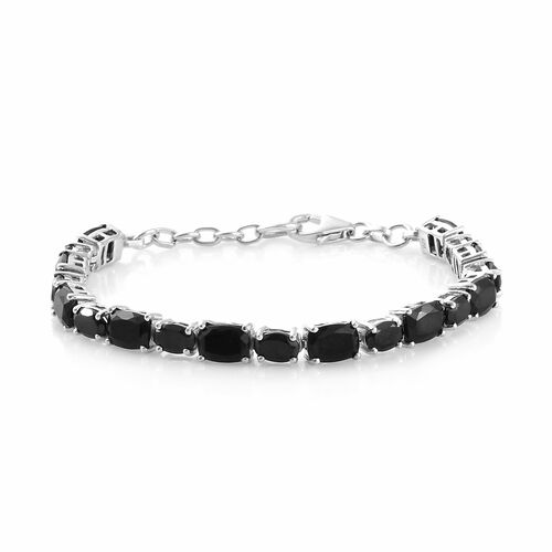 Black Tourmaline (Cush 8.35 Ct), Boi Ploi Black Spinel Bracelet (Size 7) in Platinum Overlay Sterling Silver 13.500 Ct, Silver wt 7.90 Gms.