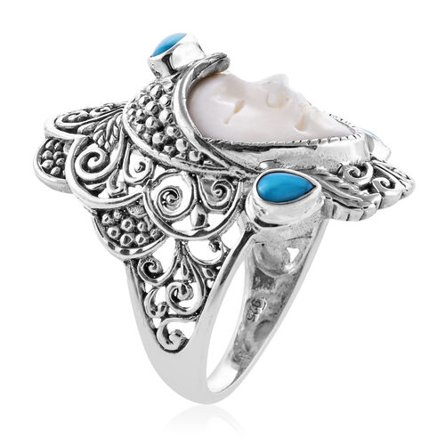 Princess Bali Collection OX Bone Carved Face (Pear 17x13 mm), Arizona Sleeping Beauty Turquoise Ring in Sterling Silver 1.521 Ct, Silver wt 10.44 Gms