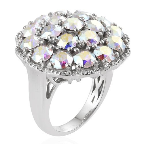 J Francis Crystal from Swarovski - AB Colour Crystal (Rnd) Cluster Ring in Silver Plated