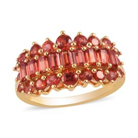 Monster Deal - Red Sapphire Cluster Ring in 14K Gold Overlay Sterling Silver 2.50 Ct.