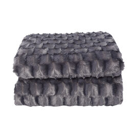 Embossed Checker Pattern Faux Fur Sherpa Blanket (150x200cm) - Dark Grey