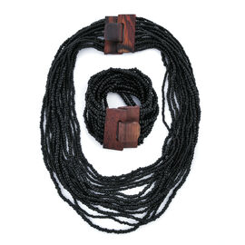 2 Piece Set - Black Colour Beads Multi Strand Necklace (Size 20) and Bracelet (Size 7.5) with Wooden