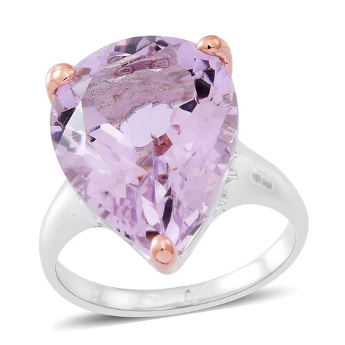 Rose De France Amethyst (Pear) Ring in Rhodium and Rose Gold Overlay Sterling Silver 14.000 Ct. Silver wt 5.30 Gms.