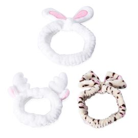 3 Piece Set - Lovely Bowknot Design Headband Stretchable in Leopard Pattern, Rabbit and Deer Ear (Di
