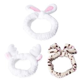 3 Piece Set - Lovely Bowknot Design Headband Non-Stretchable in Leopard Pattern, Rabbit and Deer Ear