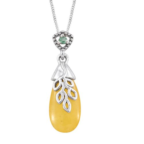Yellow Jade and Kagem Zambian Emerald Nature Inspired Pendant with Chain in Platinum Overlay Sterling Silver 5.000 Ct.