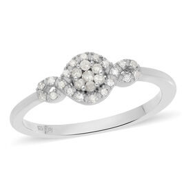 Diamond Ring in Platinum Overlay Sterling Silver 0.20 Ct.