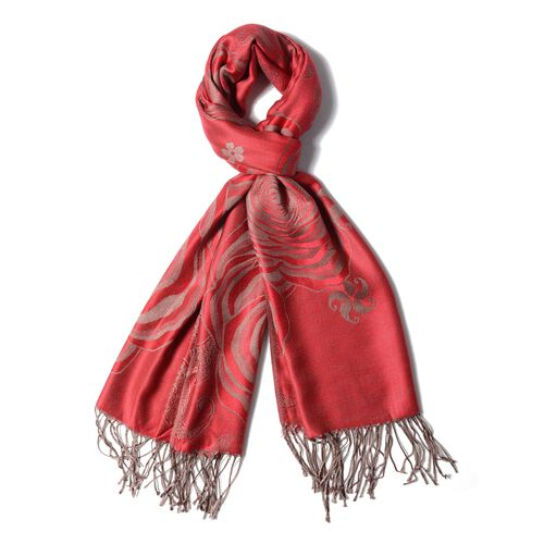 Designer Inspired- Orange and Beige Colour Scarf with Rose Flower Pattern (Size 180X70 Cm)