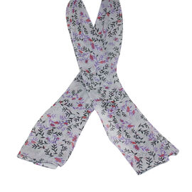 SUGARCRISP Chiffon Grey, Red and Purple Floral Printed Scarf (152x45cm)