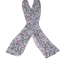 SUGARCRISP Chiffon Grey, Red and Purple Floral Printed Scarf (152x45cm)