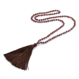 Chocolate Colour Beads Necklace with Tassel Size 32 Inch