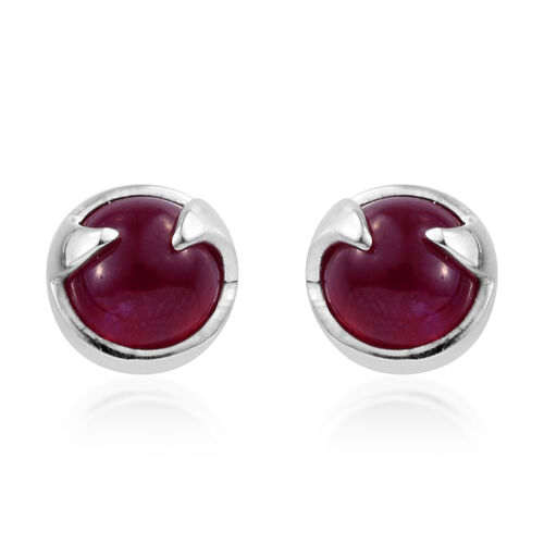 LucyQ African Ruby (Rnd) Rose Thorn Earrings (with Push Back) in Platinum Overlay Sterling Silver 7.