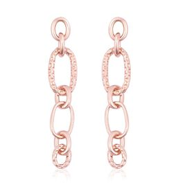 RACHEL GALLEY Rose Gold Overlay Sterling Silver Chain Earrings (with Push Back), Silver wt 11.18 Gms