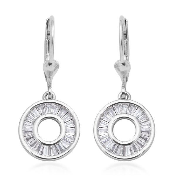 ELANZA Simulated Diamond Circle Drop Earrings in Rhodium Plated Silver
