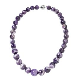 733 Ct Bi Color Amethyst Beaded Necklace in Rhodium Plated Silver with Magnetic Lock 20 Inch