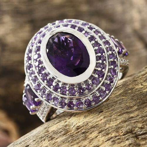 8.25 Ct Amethyst and Natural Cambodian Zircon Art Deco Ring in Platinum Plated Silver 10.17 gms