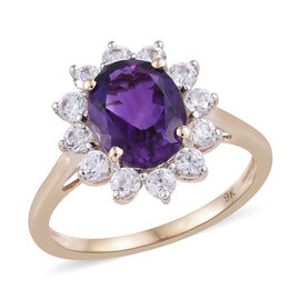 9K Yellow Gold AAA Moroccan Amethyst (Ovl 9x7 mm), Natural Cambodian Zircon Floral Ring 2.500 Ct.