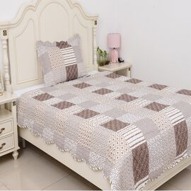 2 Piece Set  - Microfibre Printed Quilt (Size 240x180) and Pillow Case (Size 70x50 Cm) - White, Brow