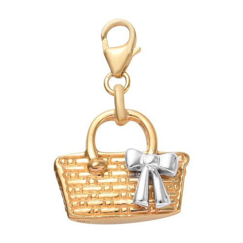 Platinum and Yellow Gold Overlay Sterling Silver Basket Charm