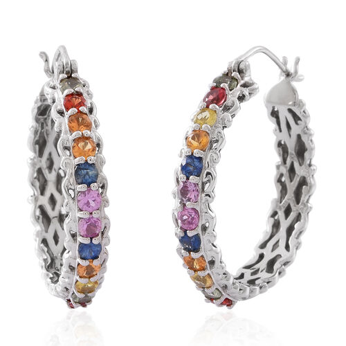 Rainbow Sapphire (Rnd) Hoop Earrings (with Clasp) in Rhodium Plated Sterling Silver 3.240 Ct.Silver Wt 10.02 Gms