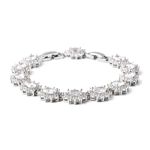 4 Piece Set -  Simulated Diamond Ring, Necklace (Size 20 with 2 inch Ext.), Barcelet (Size 8 with Extra Clasp) and Earrings (with Clasp) in Silver Tone