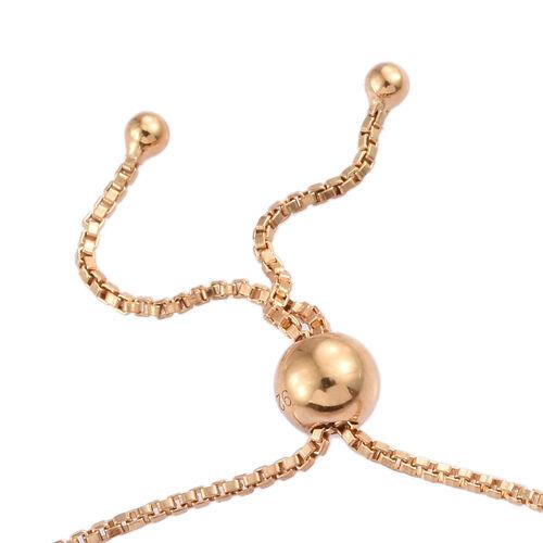 Diamond (Rnd) Bolo Bracelet (Size 6.5 - 9.5 Adjustable) in 14K Gold Overlay Sterling Silver 0.100 Ct.