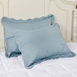 2 Piece Set - Luxury Satin Woven Oxford Pillow Shams with Circles Embroidery in Mermaid Blue Colour (50x70 cm)