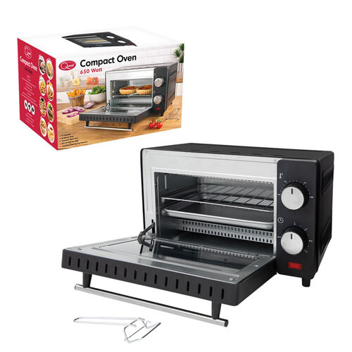 Compact Oven with Automatic Shut-Off (9L) - Black (Size: 36x21x12cm, Cord L: 70cm)