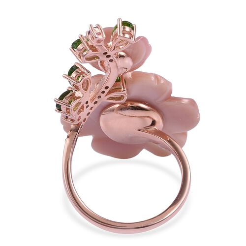 Jardin Collection -Pink Mother of Pearl, Freshwater White Pearl and Multi Gemstones Crossover Ring in Rose Gold and Rhodium Overlay with Enameled Sterling Silver 14.450 Ct, Silver wt. 5.51 Gms