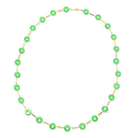 Green Jade Station Necklace (Size 30) in Yellow Gold Overlay Sterling Silver 136.74 Ct, Silver wt 9.