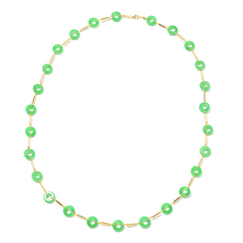 136.74 Ct Green Jade Station Necklace in Yellow Gold Plated Sterling Silver 30 Inch