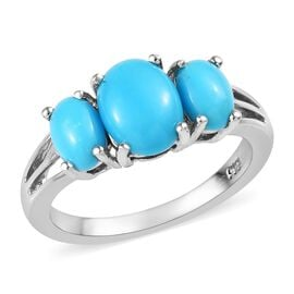 2 Ct Sleeping Arizona Beauty Turquoise Trilogy Ring in Platinum Plated Silver