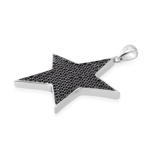 Boi Ploi Black Spinel (Rnd) Star Pendant in Rhodium Overlay with Black Plating Sterling Silver 1.440 Ct, Silver wt 5.73 Gms, Number of Gemstone 144