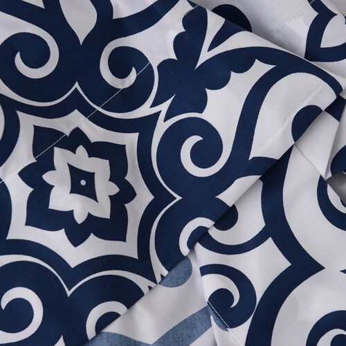 TJC Set of 2 Blue and White Colour King Size- 2 Fitted Sheet (200x150x30 Cm), 2 Flat Sheet (275x265 Cm) and 4 Pillow Case (75x50 Cm) in Damask and Embroidery Pattern