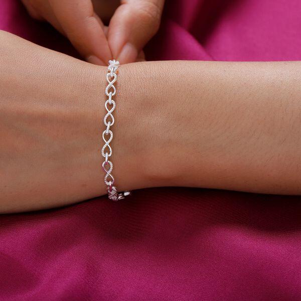 Designer Inspired - Sterling Silver Infinity Knot Bracelet (Size 6.5), Silver wt 5.80 Gms.