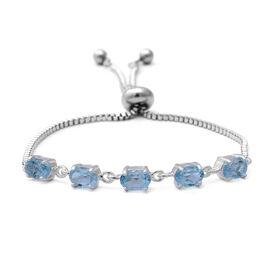 Sky Blue Topaz (Ovl) Bolo Bracelet (Size 6.5-8 Adjustable) in Sterling Silver and Steel 2.90 Ct.
