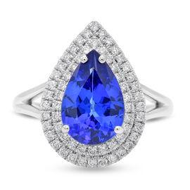 RHAPSODY 950 Platinum AAAA Tanzanite and Diamond (VS/E-F) Ring 3.20 Ct, Platinum wt 6.80 Gms
