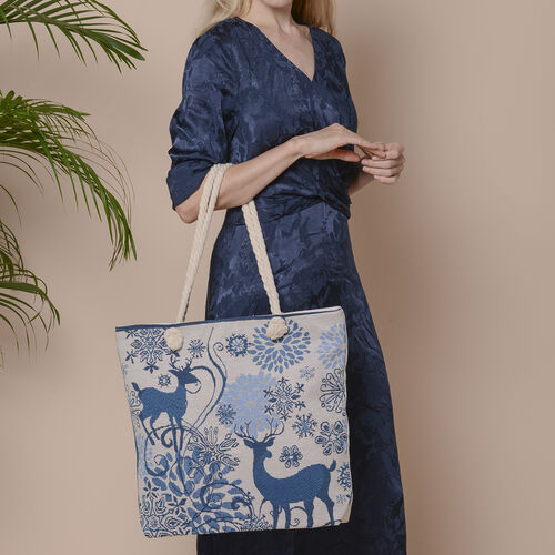 Christmas Collection Two Deer Print Jute Tote Bag (Size 42x34x9x37cm) - Blue