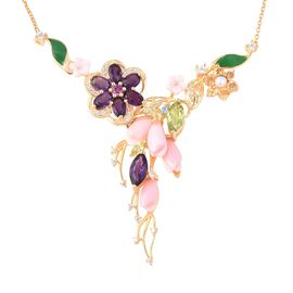 Jardin Collection Mother of Pearl and Multi Gemstone Floral Necklace in Gold Plated Silver 18 Inch