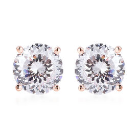 TJC Launch- AAAA Radiant Cut Simulated Diamond Stud Earrings (with Push Back) in Rose Gold Overlay S