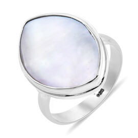 Royal Bali Collection - Mother of Pearl (Mrq 30x15 mm) Solitaire Ring in Sterling Silver