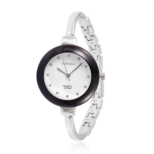 STRADA Japanese Movement Austrian Crystal Studded Watch in Silver Tone with Interchangeable Bezels