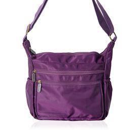 Close Out Deal- Water Resistant Multi Pocket Cross Body Bag - Black ( 34x22x12 Cms) - Purple Colour