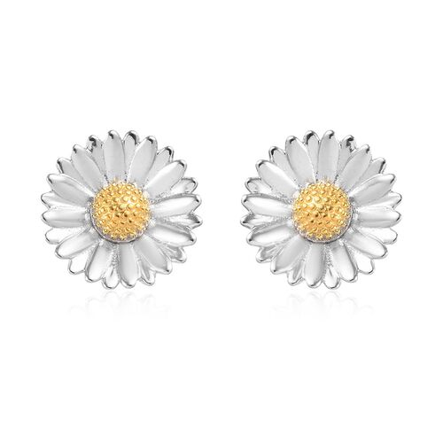 Platinum and Yellow Gold Overlay Sterling Silver Earrings (with Push Back)