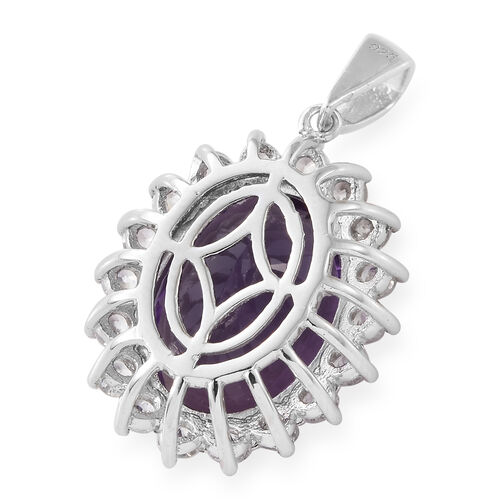 TJC Launch- Extremely Rare Canela Amethyst (Ovl 16x12mm 9 Ct), Natural White Cambodian Zircon Pendant in Platinum Overlay Sterling Silver 10.500 Ct
