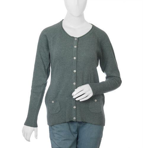 80% Lambs Wool Aquamarine Colour Cardigan (UK Size-20, 62x52 cm)