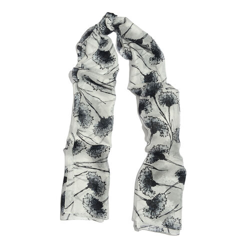 100% Mulberry Silk Grey and Black Colour Handscreen Printed Scarf (Size 180x100 Cm)