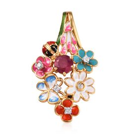 GP 1.50 Ct African Ruby and Multi Gemstone Floral Pendant in Gold Plated Silver