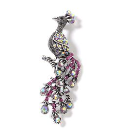 Multi Colour Austrian Crystal (Rnd) Peacock Brooch in Silver Tone
