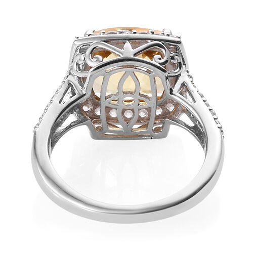 Xia Heliodor (Cush 3.50 Ct), Natural Cambodian Zircon Ring in Platinum Overlay Sterling Silver 4.665 Ct.